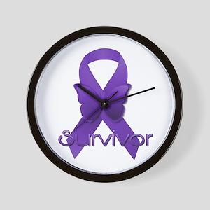 Purple Ribbon: Survivor Wall Clock