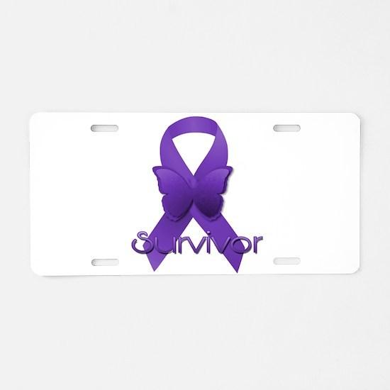 Purple Ribbon: Survivor Aluminum License Plate