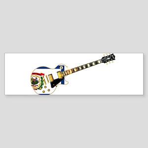 West Virginia State Flag Guitar Bumper Sticker