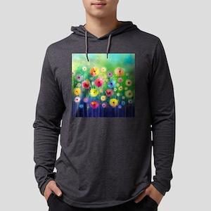 Watercolor Flowers Mens Hooded Shirt