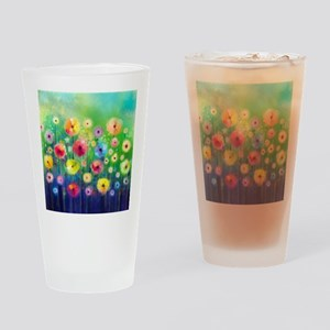 Watercolor Flowers Drinking Glass