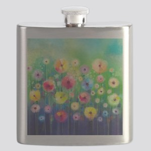 Watercolor Flowers Flask