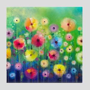 Watercolor Flowers Tile Coaster