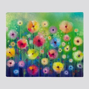 Watercolor Flowers Throw Blanket