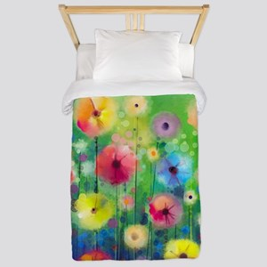 Watercolor Flowers Twin Duvet Cover