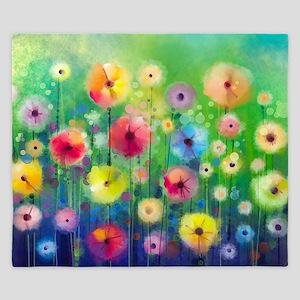 Watercolor Flowers King Duvet