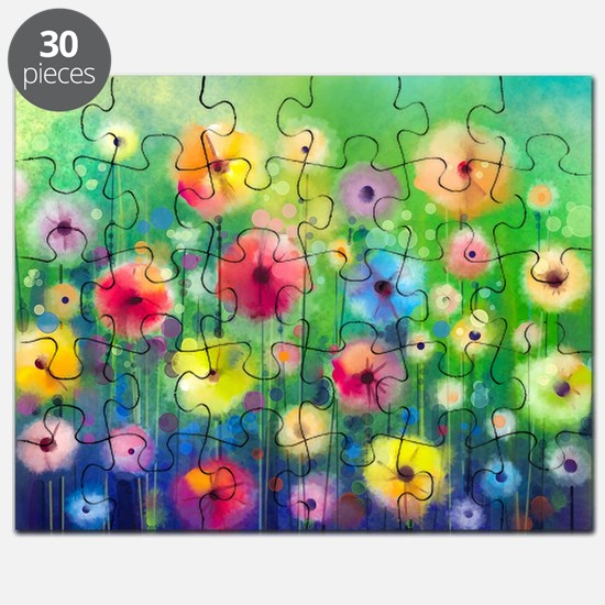 Watercolor Flowers Puzzle