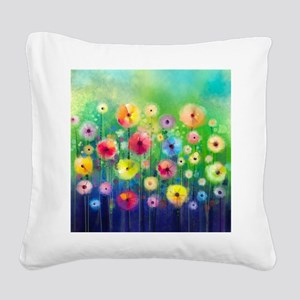 Watercolor Flowers Square Canvas Pillow