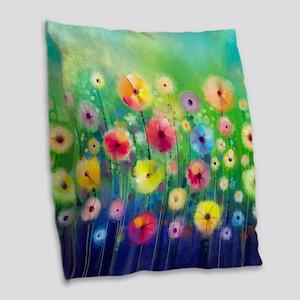 Watercolor Flowers Burlap Throw Pillow