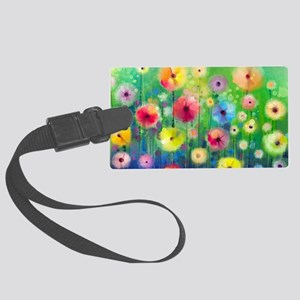Watercolor Flowers Large Luggage Tag