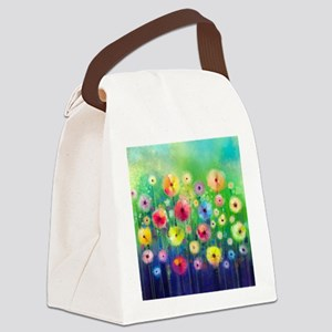 Watercolor Flowers Canvas Lunch Bag