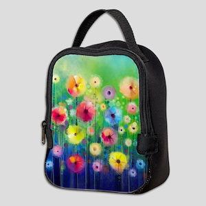 Watercolor Flowers Neoprene Lunch Bag