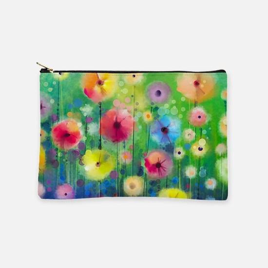 Watercolor Flowers Makeup Bag