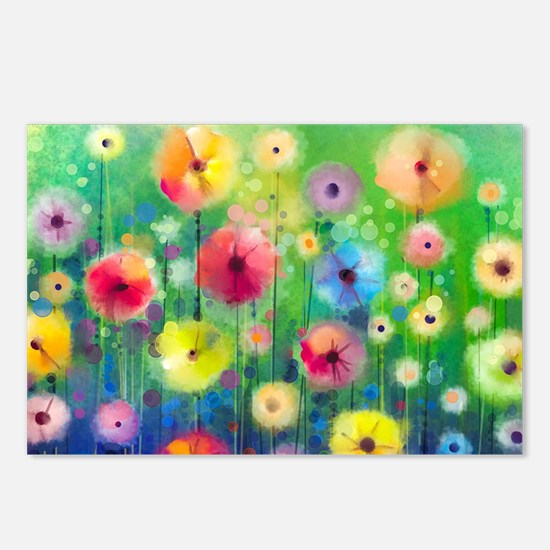 Watercolor Flowers Postcards (Package of 8)