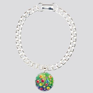 Watercolor Flowers Charm Bracelet, One Charm