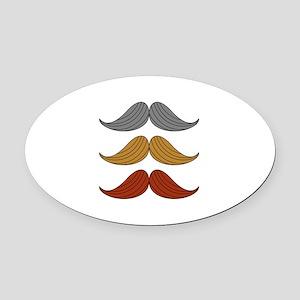retro moustaches Oval Car Magnet