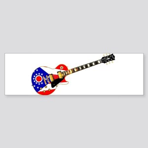 Ohio State Flag Guitar Bumper Sticker