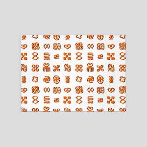 Adinkra Symbols in Orange And Black 5'x7'Area Rug