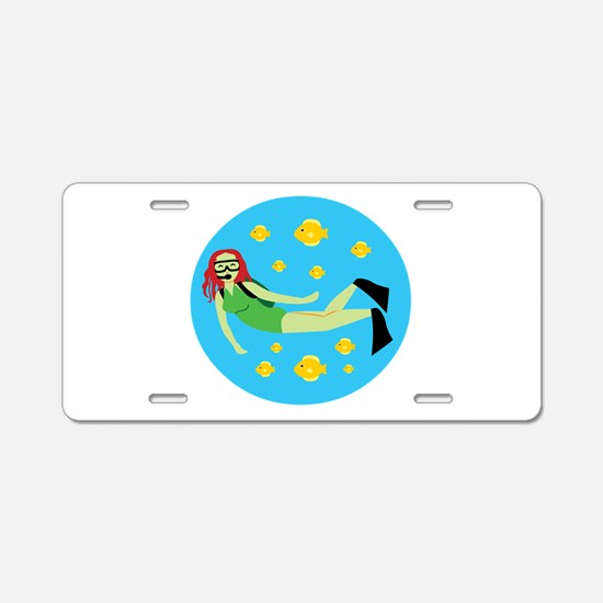 Scuba Diver Girl Aluminum License Plate