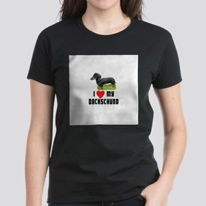 I Love My Dachschund Women's Dark T-Shirt