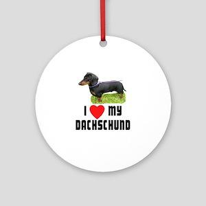 I Love My Dachschund Ornament (Round)