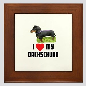 I Love My Dachschund Framed Tile