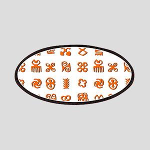 Adinkra Symbols in Orange And Black Patch