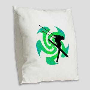 SKI Burlap Throw Pillow