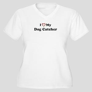 I Love My Dog Catcher Women's Plus Size V-Neck T-S
