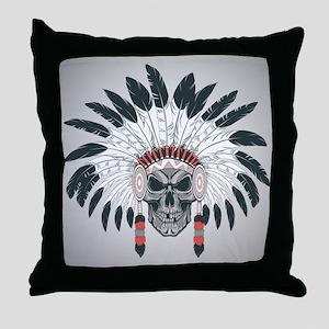 Indian Skull Throw Pillow
