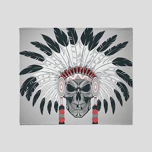 Indian Skull Throw Blanket