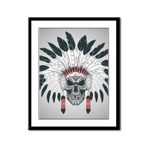 Indian Skull Framed Panel Print