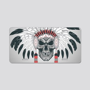 Indian Skull Aluminum License Plate