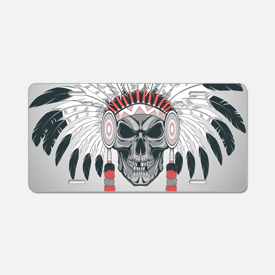 Indian Skull Aluminum License Plate