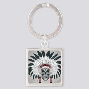 Indian Skull Square Keychain