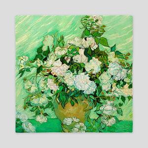 Roses by Vincent van Gogh Queen Duvet