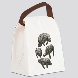 Geometric Manatee Canvas Lunch Bag