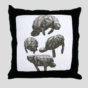 Geometric Manatee Throw Pillow