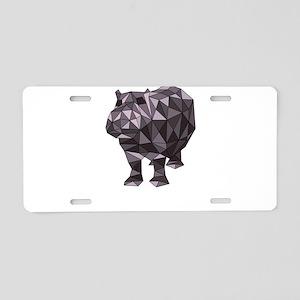 Geometric Hippo Aluminum License Plate