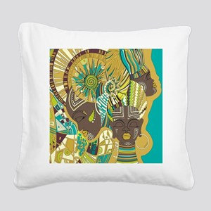 African Woman Square Canvas Pillow