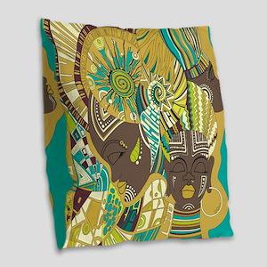 African Woman Burlap Throw Pillow