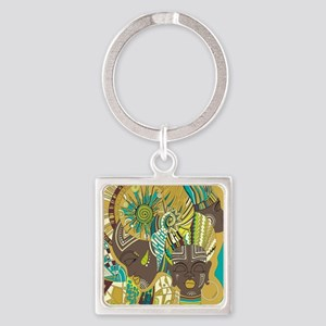 African Woman Square Keychain