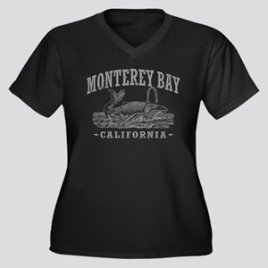 Monterey Bay Women's Plus Size V-Neck Dark T-Shirt