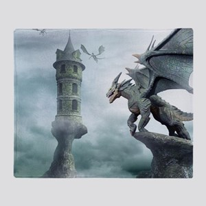 Tower Dragons Throw Blanket