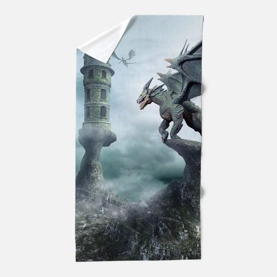 Tower Dragons Beach Towel