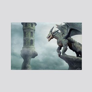Tower Dragons Rectangle Magnet