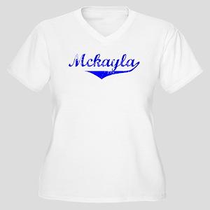 Mckayla Vintage (Blue) Women's Plus Size V-Neck T-