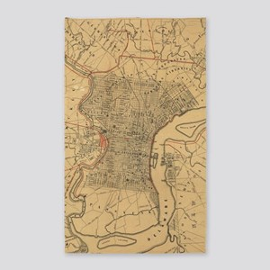 Vintage Map of Philadelphia Pennsylvania Area Rug
