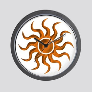 Orange Starburst Wall Clock