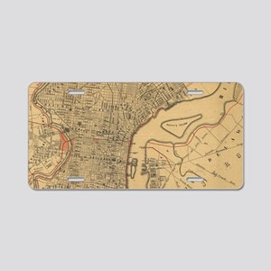 Vintage Map of Philadelphia Aluminum License Plate